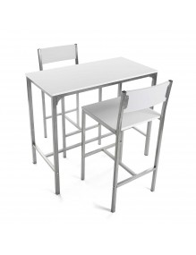 Set of table and and 2 chairs, model London - White