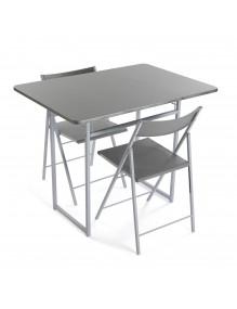 Mesa plegable mas 2 sillas, modelo plata