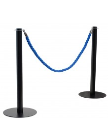 Dos postes separadores de cordón en color negro