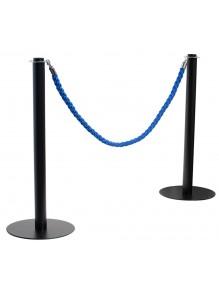 Two black cord separator posts