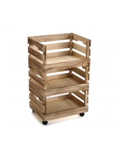 Auxiliary kitchen trolley in natural wood