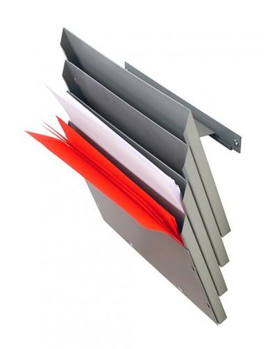 Expositor metálico para folletos A4V 3 Departamentos (Gris Perla)