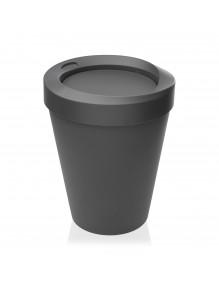Papelera con tapa basculante color gris, capacidad 9 litros