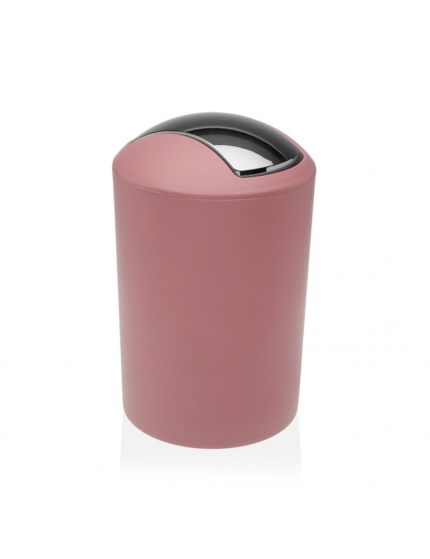 Round polypropylene waste paper bin. 7 Litres (Pink)